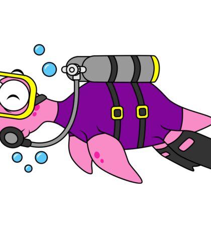 Illustration of a Loch Ness Monster scuba diver. Sticker