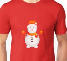 Snowman with Red Background Unisex T-Shirt