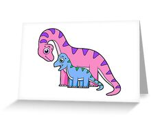 Cute illustration of a mother and child Brachiosaurus. Greeting Card