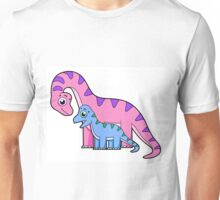 Cute illustration of a mother and child Brachiosaurus. Unisex T-Shirt