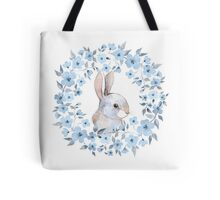 Rabbit and floral wreath Tote Bag