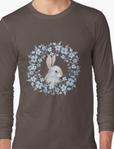 Rabbit and floral wreath Long Sleeve T-Shirt