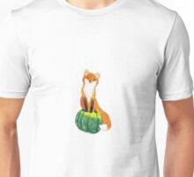 Funny Fox on Green Pumpkin Unisex T-Shirt