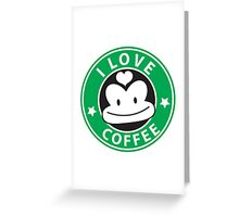 I LOVE COFFEE funny face green logo Greeting Card