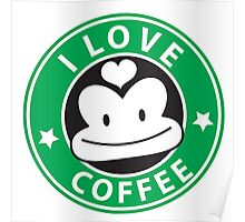 I LOVE COFFEE funny face green logo Poster
