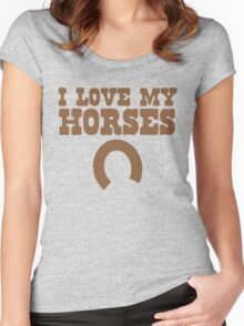 I love my HORSES with lucky horse shoe Women's Fitted Scoop T-Shirt