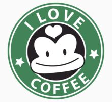 I LOVE COFFEE funny face green logo One Piece - Short Sleeve