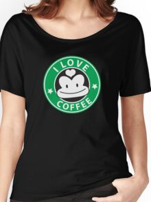 I LOVE COFFEE funny face green logo Women's Relaxed Fit T-Shirt