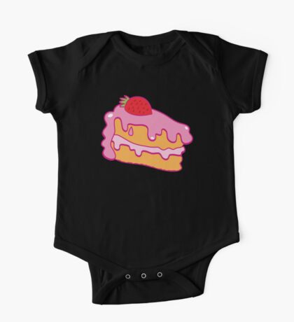Cute pink cake slice with strawberry on top One Piece - Short Sleeve
