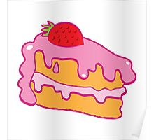 Cute pink cake slice with strawberry on top Poster