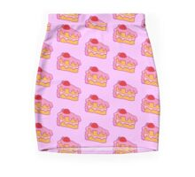 Cute pink cake slice with strawberry on top Mini Skirt