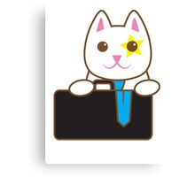 Business CAT with a suitcase Canvas Print