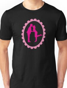 Cute first kiss on a CAMEO in pink couple Unisex T-Shirt