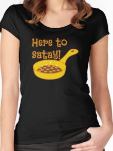 Here to SATAY with frying pan cooking Women's Fitted Scoop T-Shirt