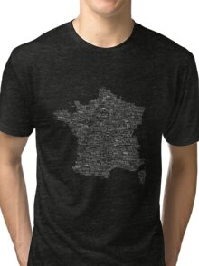 Typographic Map of France Tri-blend T-Shirt