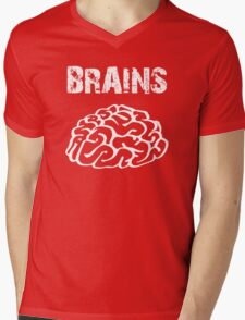 BRAINS by Zombie Ghetto Mens V-Neck T-Shirt