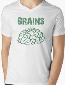 BRAINS by Zombie Ghetto Mens V-Neck T-Shirt