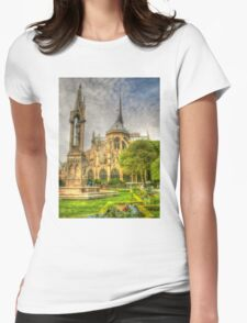 Notre Dame ..Garden Fountain view .. HDR Womens Fitted T-Shirt