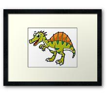 Cute illustration of a smiling Spinosaurus. Framed Print