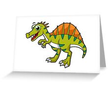 Cute illustration of a smiling Spinosaurus. Greeting Card