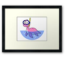 Illustration of a snorkeling Loch Ness Monster. Framed Print