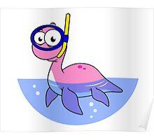 Illustration of a snorkeling Loch Ness Monster. Poster