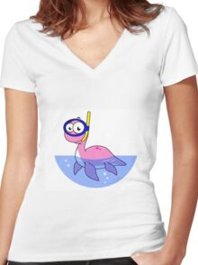 Illustration of a snorkeling Loch Ness Monster. Women's Fitted V-Neck T-Shirt