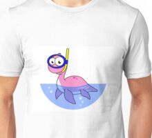 Illustration of a snorkeling Loch Ness Monster. Unisex T-Shirt