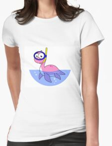Illustration of a snorkeling Loch Ness Monster. Womens Fitted T-Shirt