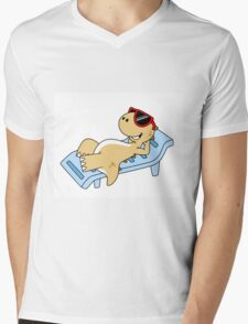 Illustration of a sunbathing Tyrannosaurus Rex. Mens V-Neck T-Shirt