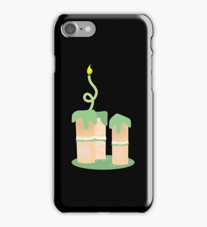 Green birthday cake with candle twirls iPhone Case/Skin