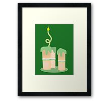 Green birthday cake with candle twirls Framed Print