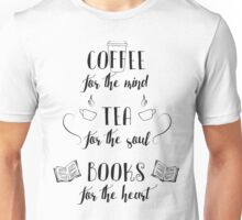 Coffee, Tea, Books Unisex T-Shirt