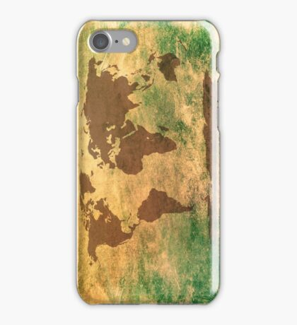 World map in brown on a scratched green/brownish background iPhone Case/Skin