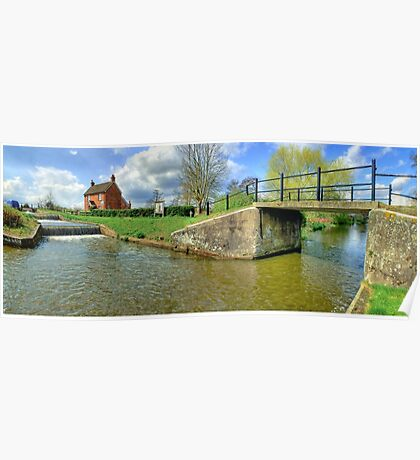 Papercourt Lock Panorama - HDR Poster