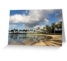 Tropical Beach Joy - Lagoon Shadows and Reflections of Palm Trees Greeting Card