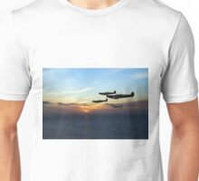 Sunset sentinels: Spitfires over the English Channel Unisex T-Shirt