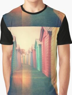 Beach Huts 02D - Retro Graphic T-Shirt