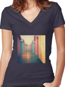 Beach Huts 02D - Retro Women's Fitted V-Neck T-Shirt