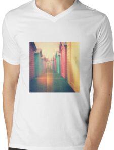 Beach Huts 02D - Retro Mens V-Neck T-Shirt