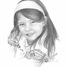 girl in headband drawing by Mike Theuer