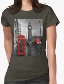 London Red Bus and Telephone Box Womens Fitted T-Shirt