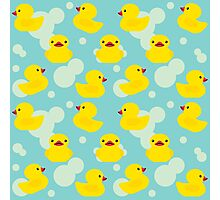 Cute Baby Shower Yellow Bathtime Rubber Ducks Pattern Photographic Print