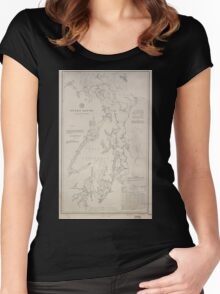 Civil War Maps 1495 Puget Sound Washington Territory Women's Fitted Scoop T-Shirt