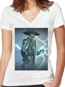 Raiden, Mortal Kombat Women's Fitted V-Neck T-Shirt