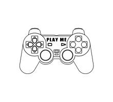 Video game - Play Me PS3 Black Photographic Print