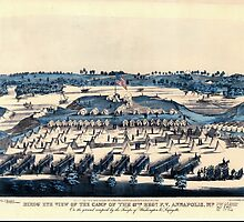 Civil War Maps 0201 Birds' eye view of the camp of the 67th Reg't PV Annapolis Md on the ground occupied by the troops of Washington Lafayette by wetdryvac