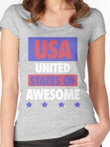 United States of Awesome - USA Women's Fitted Scoop T-Shirt