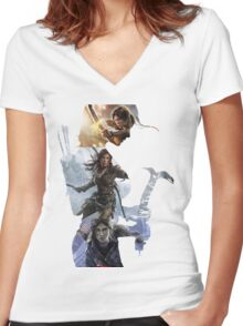 Tomb Raider  Women's Fitted V-Neck T-Shirt