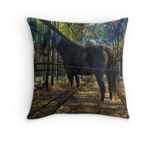 HORSE in the forest Throw Pillow
